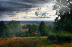 village in the wolds - stock photo