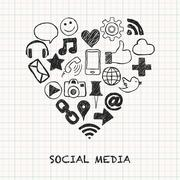 Social media icons in heart shape Stock Illustration