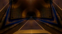 4k driving through strange mirrored, distorted tunnel Stock Footage