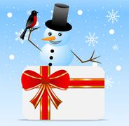 Snow man with a bird bullfinch and greeting-card Stock Illustration