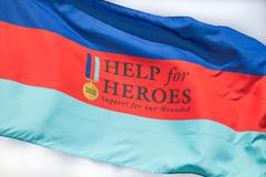 Cleethorpes, england - july 28, 2013: help the hero's flag flying in the wind Stock Photos