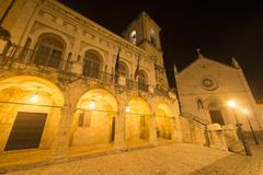 Stock Photo of norcia by night