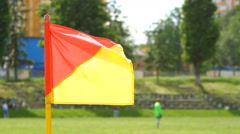 Soccer corner flag waving on the wind Stock Footage