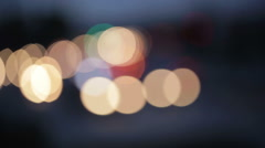 Blurry street lights at night. - stock footage