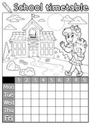 coloring book school timetable - illustration. - stock illustration