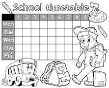 coloring book school timetable - illustration. - stock illustration