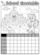 Coloring book school timetable - illustration. Stock Illustration