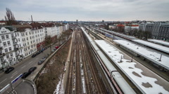 4K Hamburg Altona train station in winter - DSLR timelapse Stock Footage