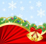 festive christmas background with the branches of silver fir and campanellis - stock illustration