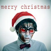 the sentence merry christmas and a hipster zombie with a santa claus hat - stock photo