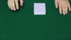Holdem dealer with playing cards Stock Footage