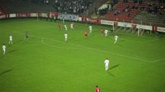Football. Soccer. Free kick. Long pass. Shot. Goalkeeper saves. Stock Footage