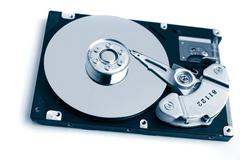 Computer hard drive, shot from the top Stock Photos