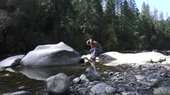 Gold miner, panning Stock Footage