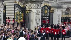 New Guards enter Buckingham Palace Stock Footage