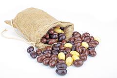 bag full of little chocolate eggs - stock photo