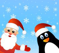 Santa claus and penguin Stock Illustration