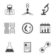 Black icons for bacteriology - stock illustration
