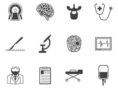 Black icons for neurosurgery Stock Illustration