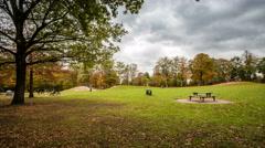 Hamburg city park - playing children in autumn - dslr dolly shot  timelapse Arkistovideo