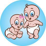 Happy baby boy and girl Stock Illustration