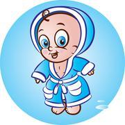 Baby boy in bathrobe Stock Illustration