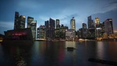 Timelapse View of Singapore City Skyline at Sunset - stock footage