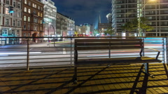 Hamburg city life by night - crossroad - DSLR dolly shot timelapse Stock Footage