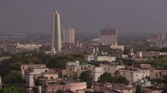 Havana Skyline with Monument to José Martí Stock Footage