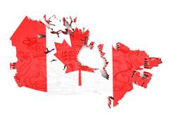 map of canada with flag colors - stock illustration