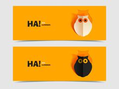 Set of two vector banners with owl cut out Stock Illustration