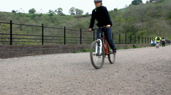 Walkers and cyclists at Monsal Head Stock Footage