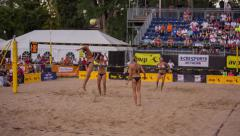 Womens Beach Volleyball spike and celebration Stock Footage