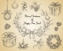 Stock Illustration of Christmas decoration sketch