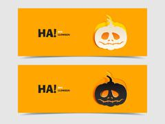 Set of two vector banners with pumpkin cut out Stock Illustration