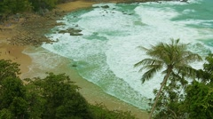 Thailand beach. not touristic season, cloudy, few people. Stock Footage
