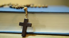 bible and rosary,rotation,panning,real time - stock footage