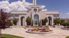LDS Temple Mount Timpanogos Pan Up Stock Footage
