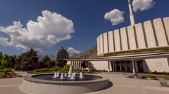 LDS Temple in Provo Utah Pan Stock Footage