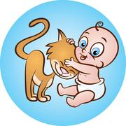 Baby with kitty Stock Illustration