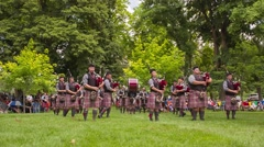 Payson Scottish Festival Bag Pipes Routine Stock Footage