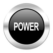 Power black circle glossy chrome icon isolated. Stock Illustration