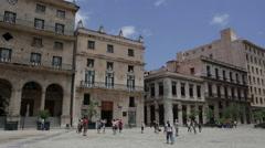 Pan of Plaza in Old Havana Stock Footage
