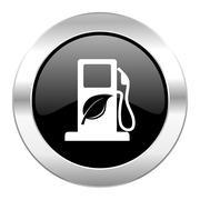 Biofuel black circle glossy chrome icon isolated. Stock Illustration