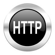 Http black circle glossy chrome icon isolated. Stock Illustration