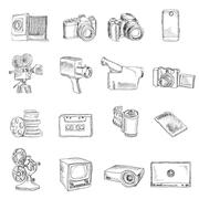 Photo video doodle icons - stock illustration