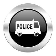 Police black circle glossy chrome icon isolated. Piirros