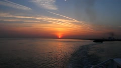 Ferry departure from Le Havre to Dover at dawn Stock Footage
