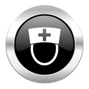 nurse black circle glossy chrome icon isolated. - stock illustration