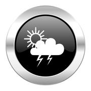 Storm black circle glossy chrome icon isolated. Stock Illustration